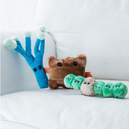 Ungewöhnliche Stofftiere - Mikroorganismen aus Plüsch als Geschenk für Kinder und Erwachsene
