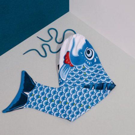 Koi Karpfen Wäschesack blau